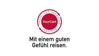 Tourcert Zertifizierungs-Siegel und Slogan