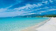Santa Giulia Strand mit glasklarem türkisem Wasser, feinem Sand und grüner Vegetation