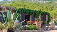Ferienhaus und Terrasse aus Stein in der Natur mit viel Grün
